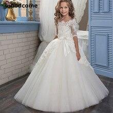 d53c9dc626 2019 Tanie flower girl suknie Połowa Rękawem Tulle Aplikacja Tulle Ball  Biały Pierwsza comunionGowns korowód sukienki dla dziewc.