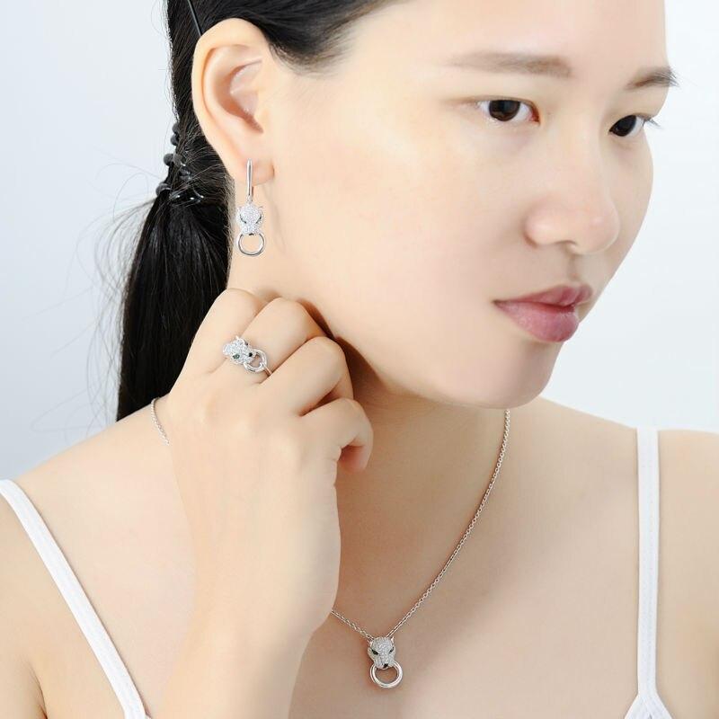 SANTUZZA argent ensemble de bijoux pour les femmes pur 925 en argent Sterling à la mode panthère anneau boucles d'oreilles pendentif ensemble blanc CZ bijoux de mode - 5