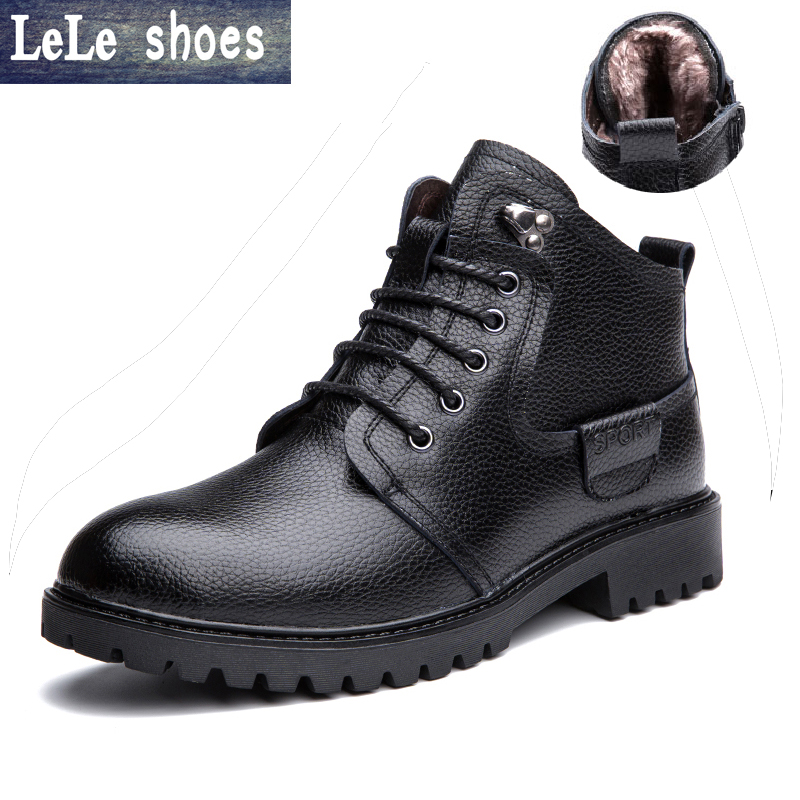 2017 New Brand Winter Men Ankle Martin Boots Genuine Leather Plush Fur Lace Up Warm Snow Martin Boots Outdoor Botas Hombre martin winter boots for men and men s winter snow boots warm cashmere waist leather shoes in winter thickening