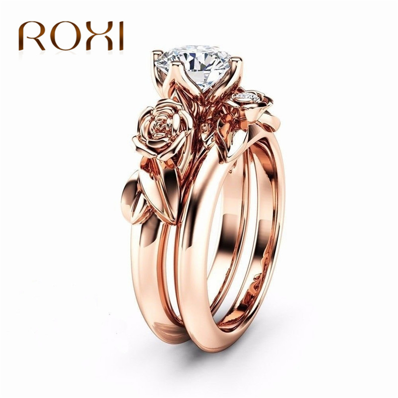ROXI 2pcs Luxury Jewellery Flower Zirconia Rings For Women Rose Gold Color Weddi
