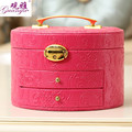 Guanya Latest fashion large round jewelry box wooden jewelry box makeup organizer wholesale and retail Free shipping