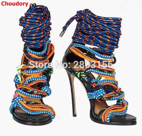 Sexy mixed-color Stiletto heels sandal open toe ladies summer Gladiator sandals rope knot Ankle Strappy Shoes Woman sexy open toe women sandals gladiator lace up high heel sandal boots stiletto heels strappy pumps summer shoes woman size 34 45