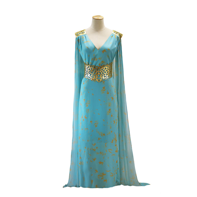 Halloween Party Game of Thrones Daenerys Targaryen Cosplay Costume Wedding Dress Costume Women Long Blue Dress with Wig Option