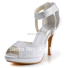 New Design EP2059-PF Ivory,White Peep Toe Ankle Wrap Platform Crystals Wedding Evening Party Shoes Ultra High Heel Woman Sandals