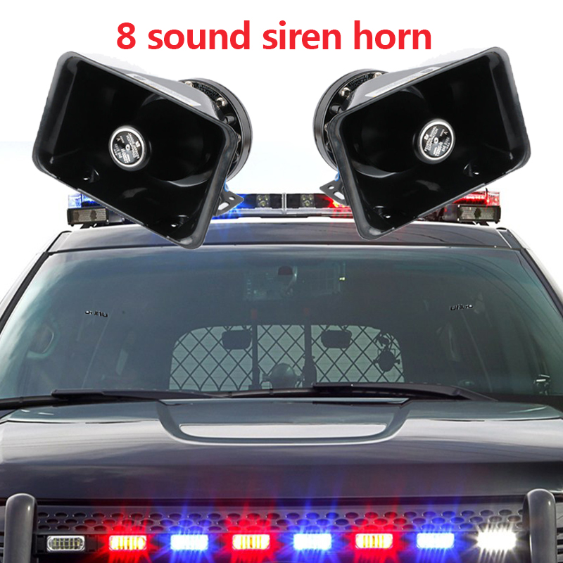 LARATH 12V 8 sound loud siren horn black for car truck speaker warning alarm Police Fire Horn ASE/CJB/Bluetooth system module
