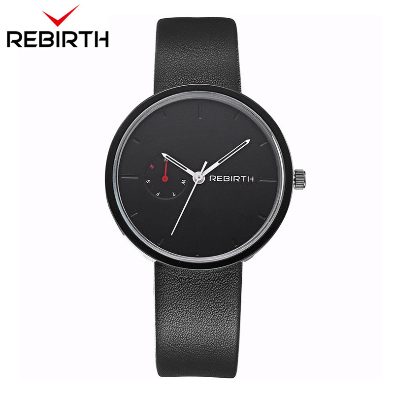 REBIRTH Popular Men Women Watches Lovers Casual Mens Watches Ladies Top Brand Luxury Quartz Leather Strap Clock Male Wristwatch new design square women watches rebirth popular brand fashion casual ladies watch quartz clock grey wristwatches reloj mujer