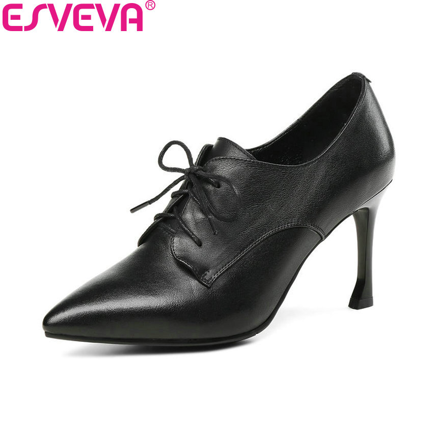 ESVEVA 2018 Women Pumps Western Style Thin Heels Cow Leather PU Lace Up Pointed Toe High Heels Pumps Shoes for Women Size 34-43 esveva 2018 pointed toe western style women pumps cow leather pu square high heels lace up out door ladies shoes size 34 43