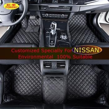 Car Floor mats For Nissan Qashqai X-trail March Murano Paladin Bluebird Tiida Teana Sunny Car Foot mats Custom carpets rugs gear shift