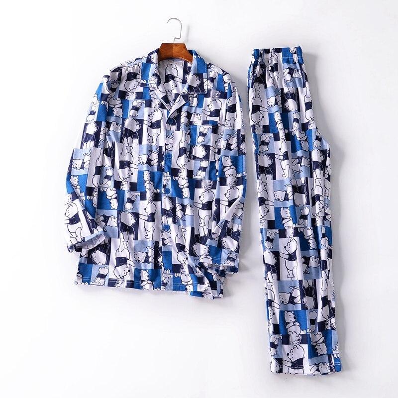 Pajamas For Men Autumn Long Sleeves Cotton Knitting Sleepwea Pyjamas Men Sleep Pajama Set Anima
