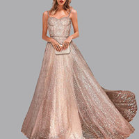 fashion Sexy Party flash robe soiree Sleeveless Condole dinner Dresses Gold Prom Gown abiye elbise evening dresses abendkleider