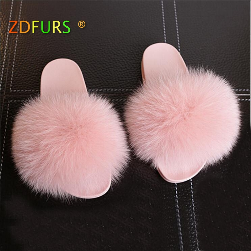 Apparel Accessories Industrious Zdfurs *2018 New Hot Thickness Bottom Women Fur Slippers Luxury Real Fox Fur Beach Sandal Shoes Fluffy Comfy Furry Flip Flops To Ensure A Like-New Appearance Indefinably
