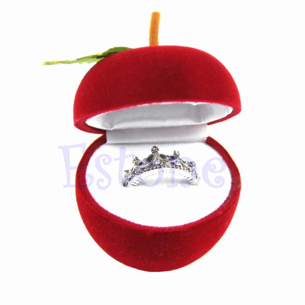 Engagement ring box christmas ornament - Velvet Apple Engagement Wedding Earring Ring Pendant Jewelry Display Box Gift China Mainland