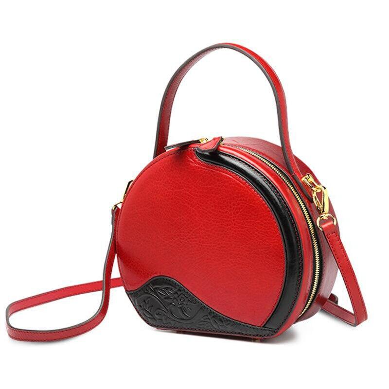 Женские сумки из натуральной кожи, новинка 2019, небольшая круглая сумка с контрастным цветным принтом, модная сумка через плечо, сумка через ... - 2