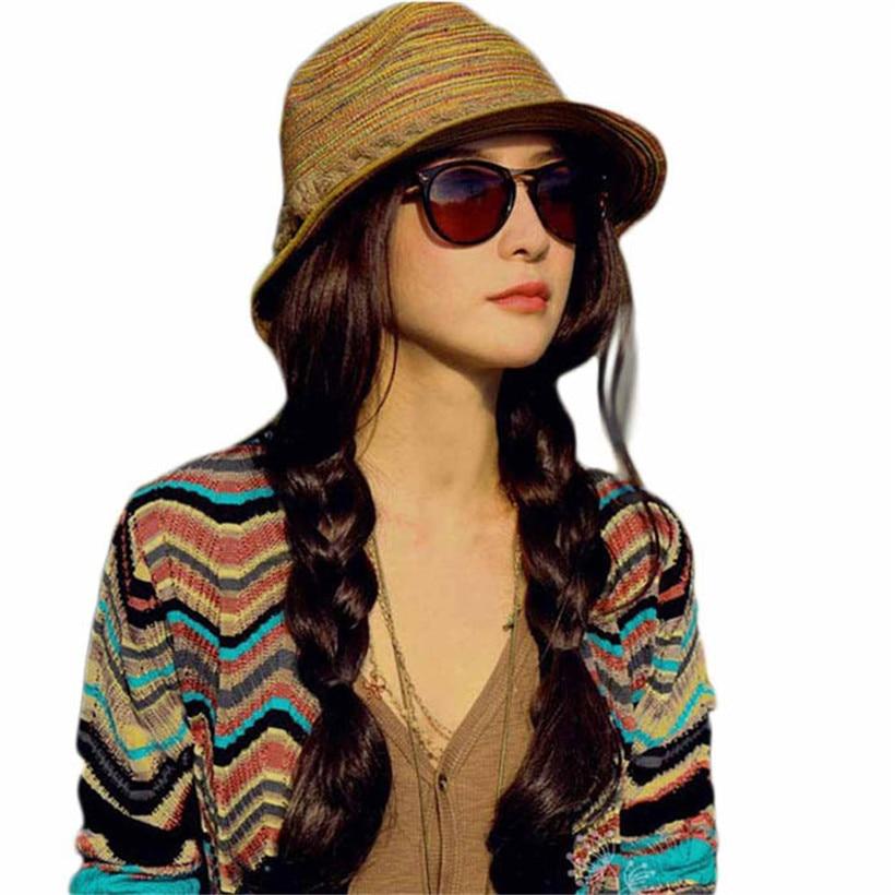 2017 Sommer Sonne Mode Frauen Stroh Hüte Striped Strand Hut Faltbare Elegante Damen Hut Frauen's Vestidos
