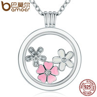 BAMOER 925 Sterling Silver Poetic Blooms Mixed Enamels Clear CZ Memories Floating Box Necklaces Pendants Luxury