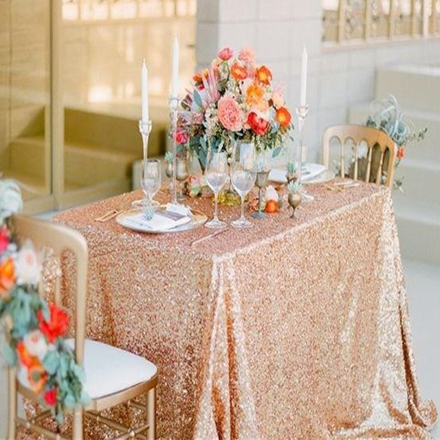 Very best 50x50 Inches Glitz Rose Gold Sequin Tablecloth Rectangular Sequin  WO37