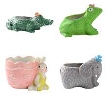 Succulent Plants Pot Silicone Concrete Mold Cute Animal Flowerpot Mould