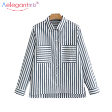 Aelegantmis Spring Autumn Long Sleeve Striped Shirt Women Chic Pockets Casual Blouses Office Lady Turn-Down Collar Blouses Tops(China)