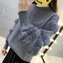 New Winter Warm Solid Female Sweaters Rabbit Fur Patchwork Lantern Sleeves Knitted Pullover Spring Elegant Black Lady's Sweater light grey black pullover lantern sleeves sweatshirt