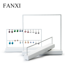FANXI Jewelry Display Rack White Metal Earrings Necklace Display Holder Jewelry Organizer Expositor Jewelry Display Stand