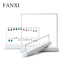 FANXI White Color Metal Frame Jewelry Display Stand Earrings Holder Necklace Holder Jewelry Organizer Expositorfor Shop Counter
