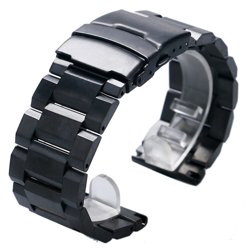 High Quality Black Bracelet Solid Stainless Steel Watch Band Adjustable Strap Watchband 18mm 20mm 22mm 24mm Mens Womens new arrival solid stainless steel watchband 22mm 24mm luxury fine steel watch strap for mens