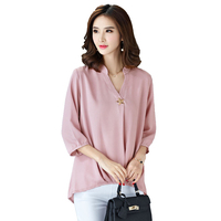 new Chiffon Blouse Women Summer 2017 Solid color V-Neck Plus size Ladies Office Blouse Fashion Casual Loose Women Tops 2L85
