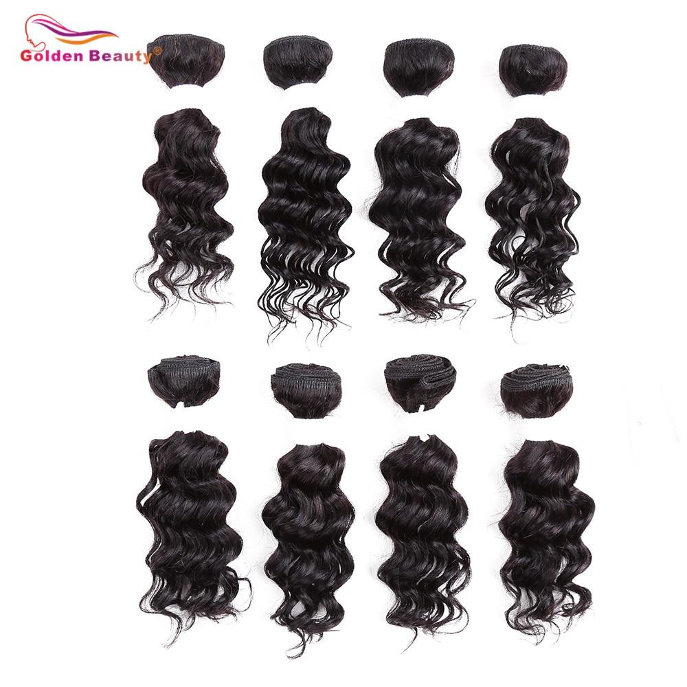 8-14inch Deep Wave Bundles Weave Hår Syntetisk Kort Sy i - Syntetiskt hår - Foto 5