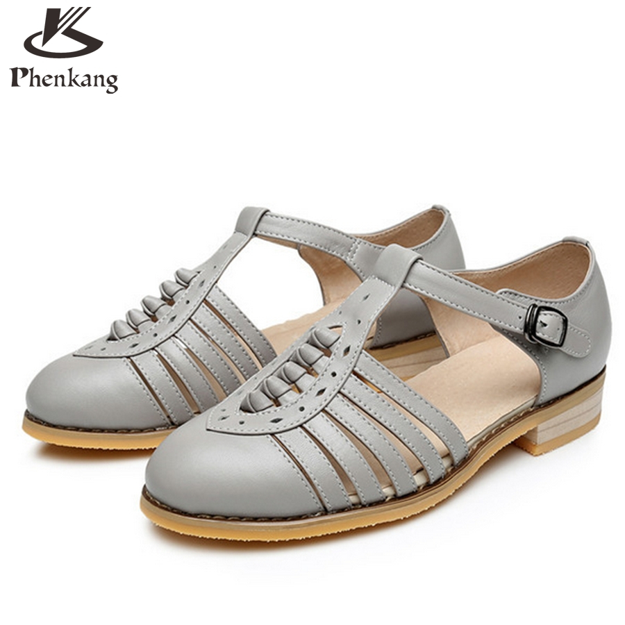 Black sandals size 11 - Aliexpress Com Buy Cow Leather Big Woman Us Size 11 Designer Vintage Flat Shoes Sandals Handmade Black White Brown Grey 2017 Oxford Shoes For Women From