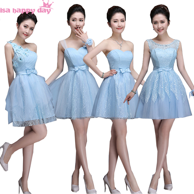612fa42929 Ocasión especial vestido de novia de tul de cielo azul corto de dama de honor  vestido