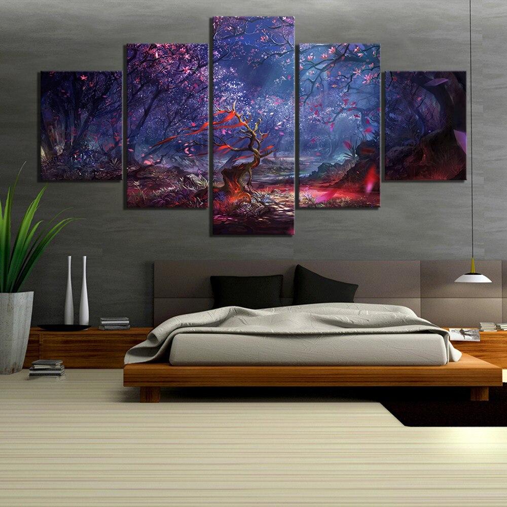 5 Piece Beautiful Forest Artwork Landscape Paintings Canvas Art for Home Decor 1