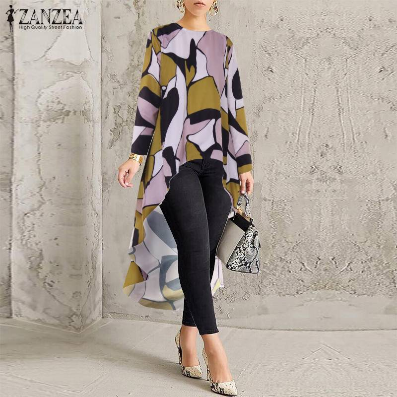 ZANZEA Fashion Asymmetrical Tops Women's Geometric Print   Blouse   2019 O Neck Long   Shirts   Female Casual Blusas Tunic Plus Size