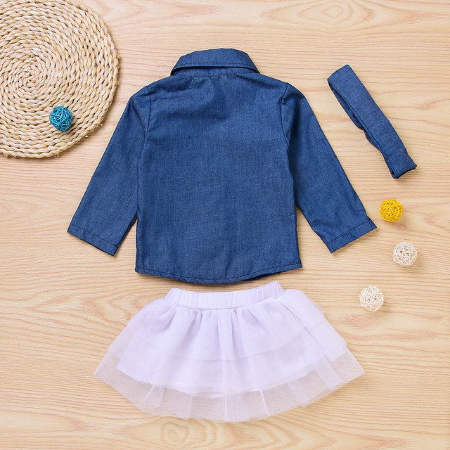 07f18c6a4 CHAMSGEND Toddler Kids Baby Girls long sleeve Denim Tops T shirt+yarn skirt  + hair