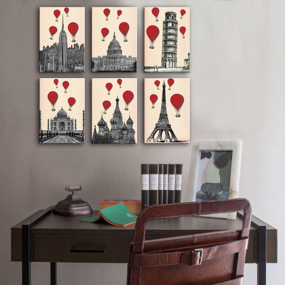 Free Shipping Art Print Oil Painting Hot Air Balloon Series Painting MINI  SIZE One Pcs Home