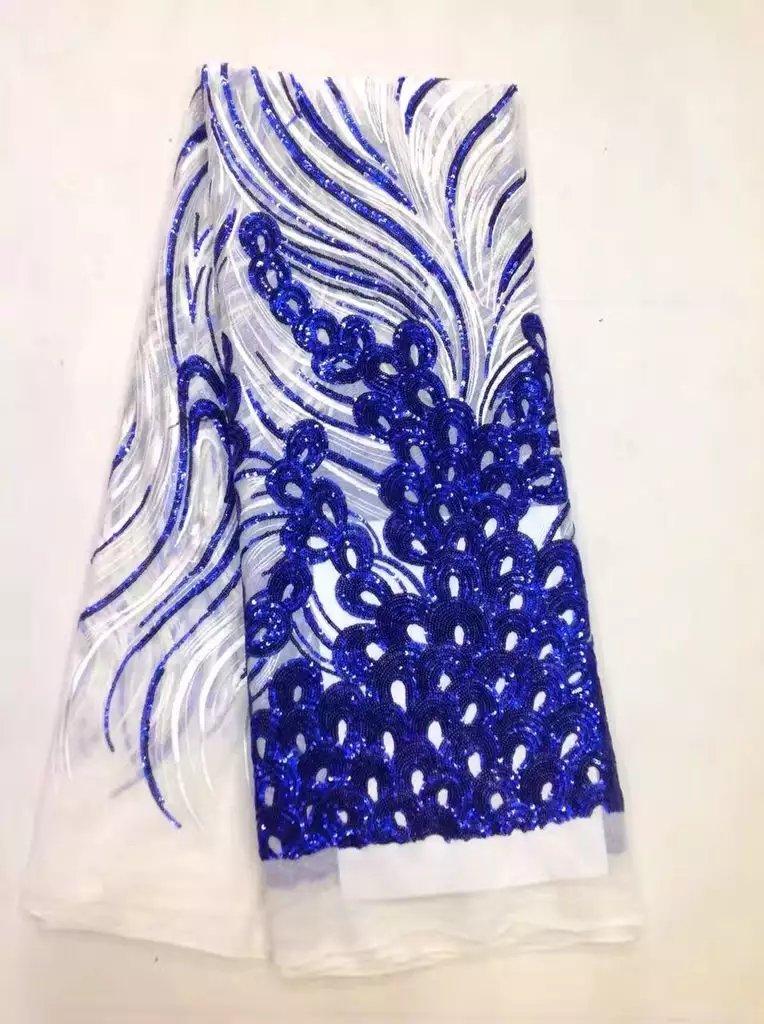 Новое поступление красивые французский Блёстки кружевной ткани витой Блёстки модные яркие африканский шнурок ткани королевский синий (MJ