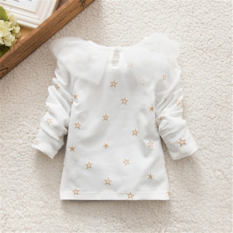 2017 Autumn New Sweet Baby Girls T-shirt White/Pink Long Sleeve Ruffled Lace Cotton Solid Blouse Kids Clothing