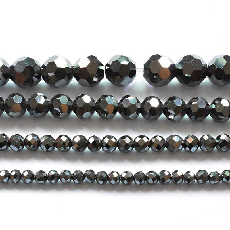 AAA koraliki z kamienia naturalnego jasne Faceted czarny hematyt koraliki do tworzenia biżuterii 15 cal 3/4/6/8mm okrągły Bedas Diy bransoletka