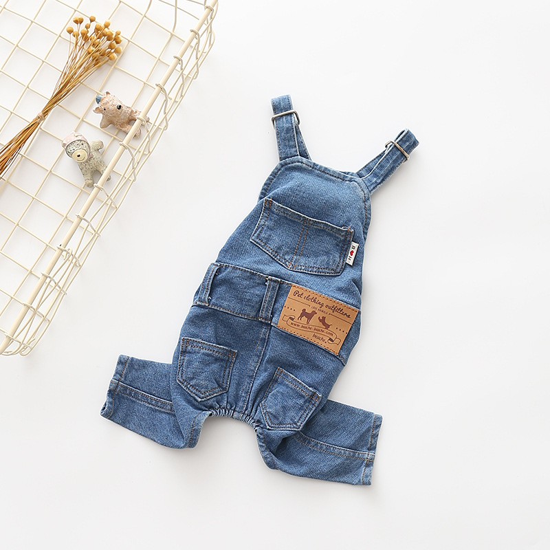 New 2018 Hot Summer Clothes for Dogs Jeans Dog Overalls Clothes for Dogs Denim All Match Jumpsuit for Dogs Yorkshire Pug Rompers