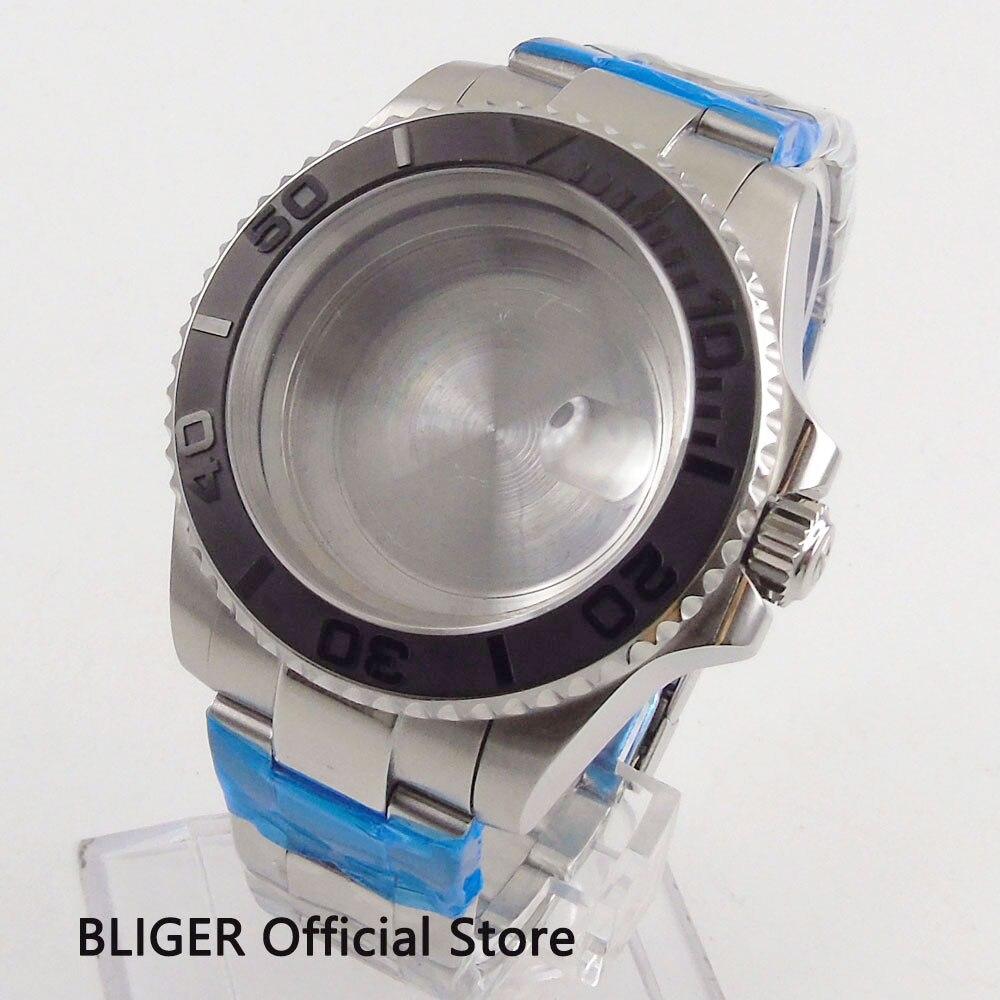 Boîtier de montre BLIGER 40 MM boîte en acier inoxydable avec lunette en verre saphir en céramique pour montre de mouvement automatique ETA 2836