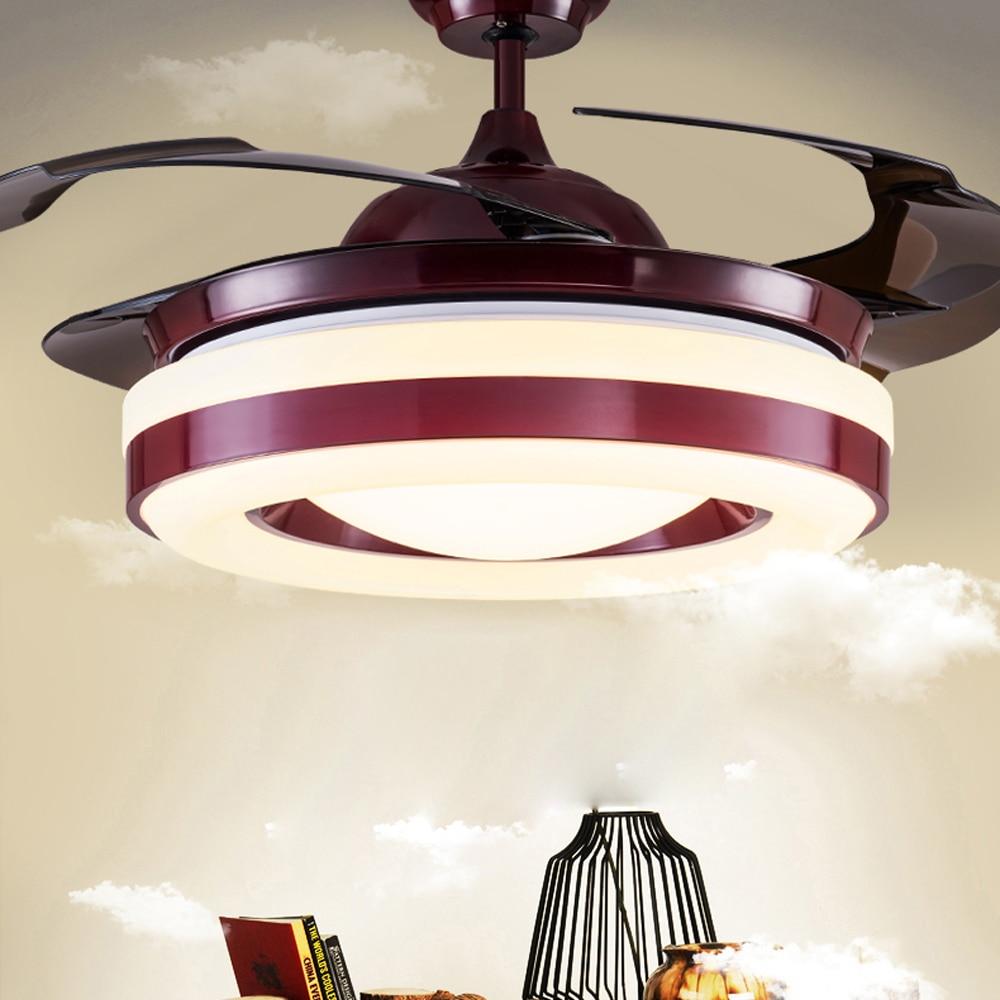 Led Nordic Iron Acrylic Red Ceiling Fan Led Lamp Led Light