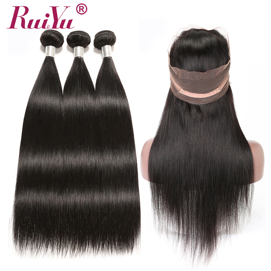 Systematic Ruiyu Hair 360 Lace Frontal With Bundle Straight Hair Bundles With Closure Peruvian Human Hair Bundles With 360 Frontal Non Remy Clearance Price 3/4 Bundles With Closure