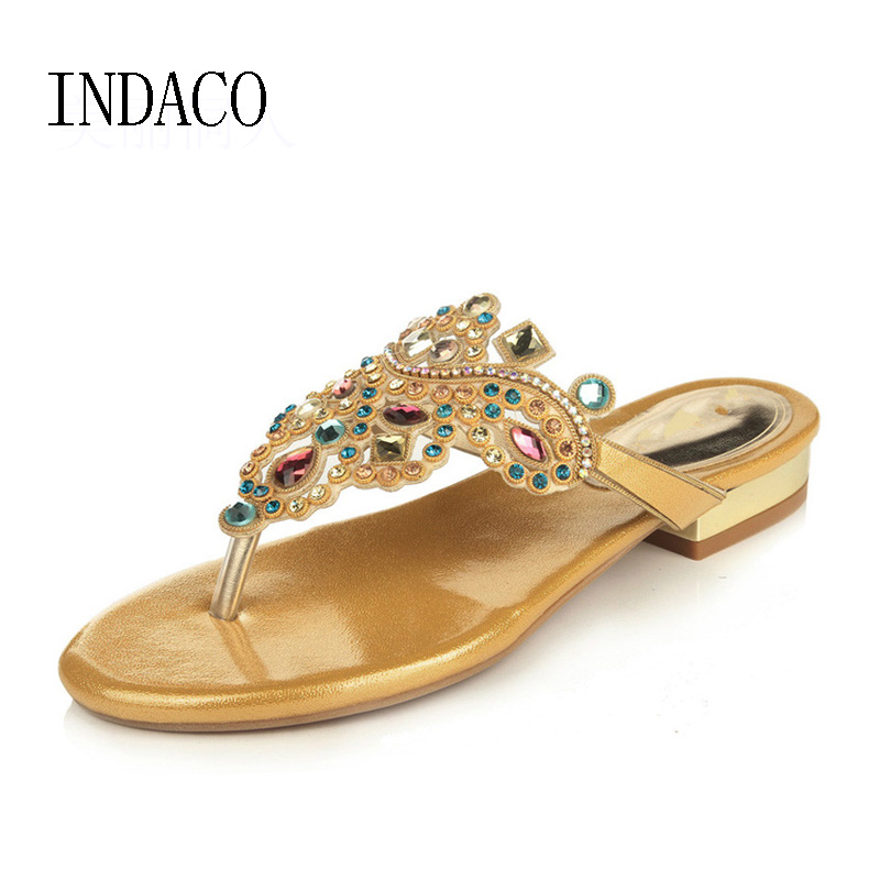 Gold Rhinestone Flip Flops Slides Summer Flat Sandals  Sexy Women's Shoes India Style Beach Shoes Casual Plus Size 33-41 2017