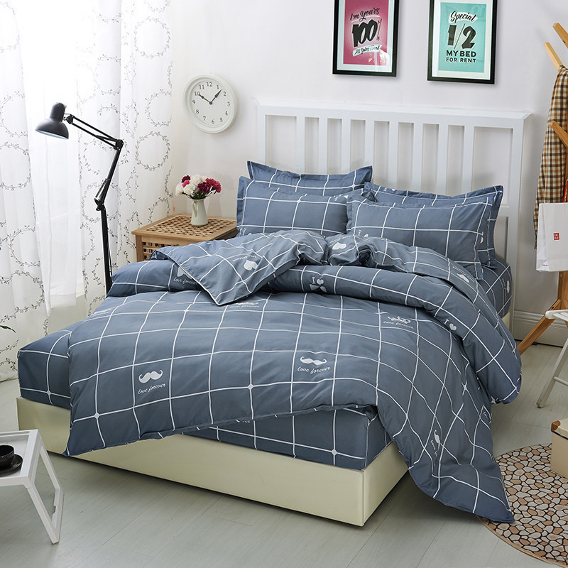 Plaid Bed Line Single Double Twin/Queen Bedding Sets BS97 Duvet Cover Fitted Sheet Pillowcases Mattress Protector Home Bed 4 pcsPlaid Bed Line Single Double Twin/Queen Bedding Sets BS97 Duvet Cover Fitted Sheet Pillowcases Mattress Protector Home Bed 4 pcs