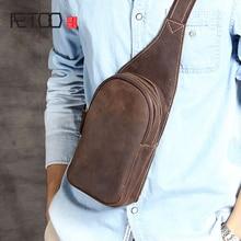 AETOO Leather mens Chest Baotou layer cowhide European and American retro Handmade original oblique bag