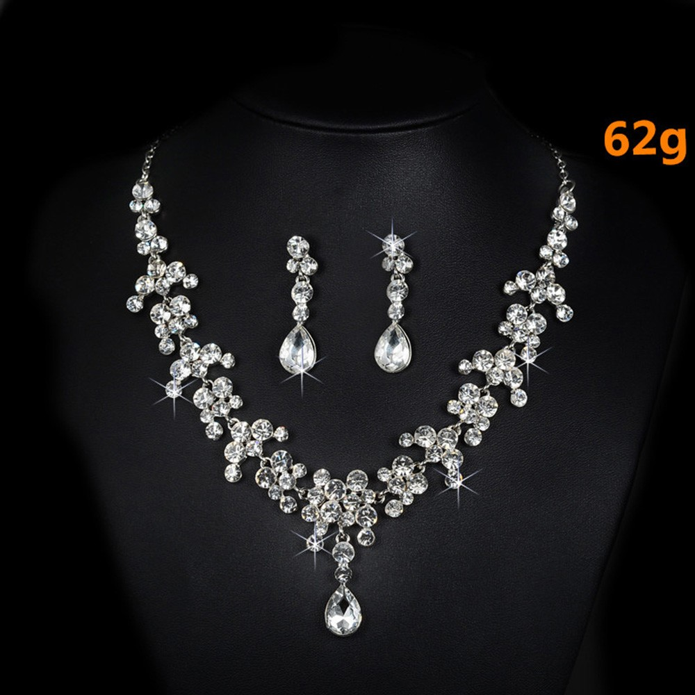 bridal jewelry set wedding dress pearl rhinestone necklace accessories women earrings silver plated luxurious party bijoux D026 (5)