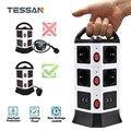 Сетевой удлинитель TESSAN с вилкой европейского стандарта, розетка с выключателем и удлинителем 5/6, 5 футов