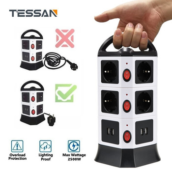TESSAN EU Plug Outlet Power Strip Multi Plug USB Socket with Switch and 5/6.5 ft Extension Cord Tower цена 2017