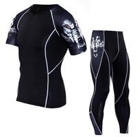 2017 Erkekler Sıkıştırma Setleri Kısa Kollu T Gömlek 3D Baskı Likra Joggers Tayt Tozluk Spor Marka Giyim Tops MMA