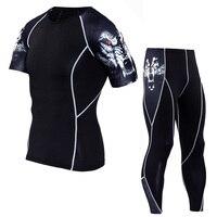 2017 Men Compression Sets Pants And Short Sleeve T Shirts 3D Print Lycra Joggers Tights Tops