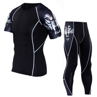 2017 Men Compression Sets Kurzarm T Shirts 3D Drucken Lycra Jogger Strumpfhose Tops Leggings Fitness Marke Kleidung MMA